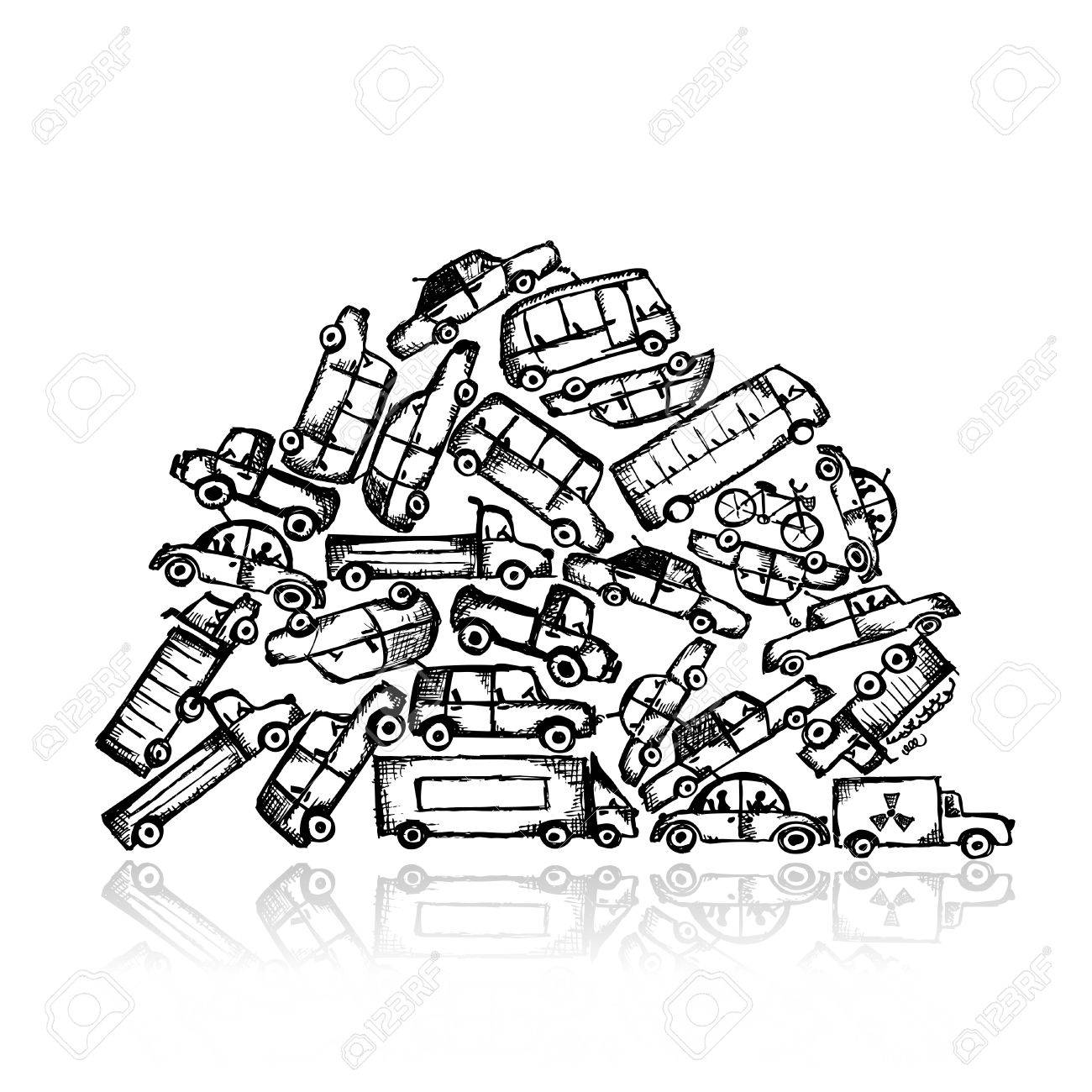 Pile of different cars Stock Vector - 21803136