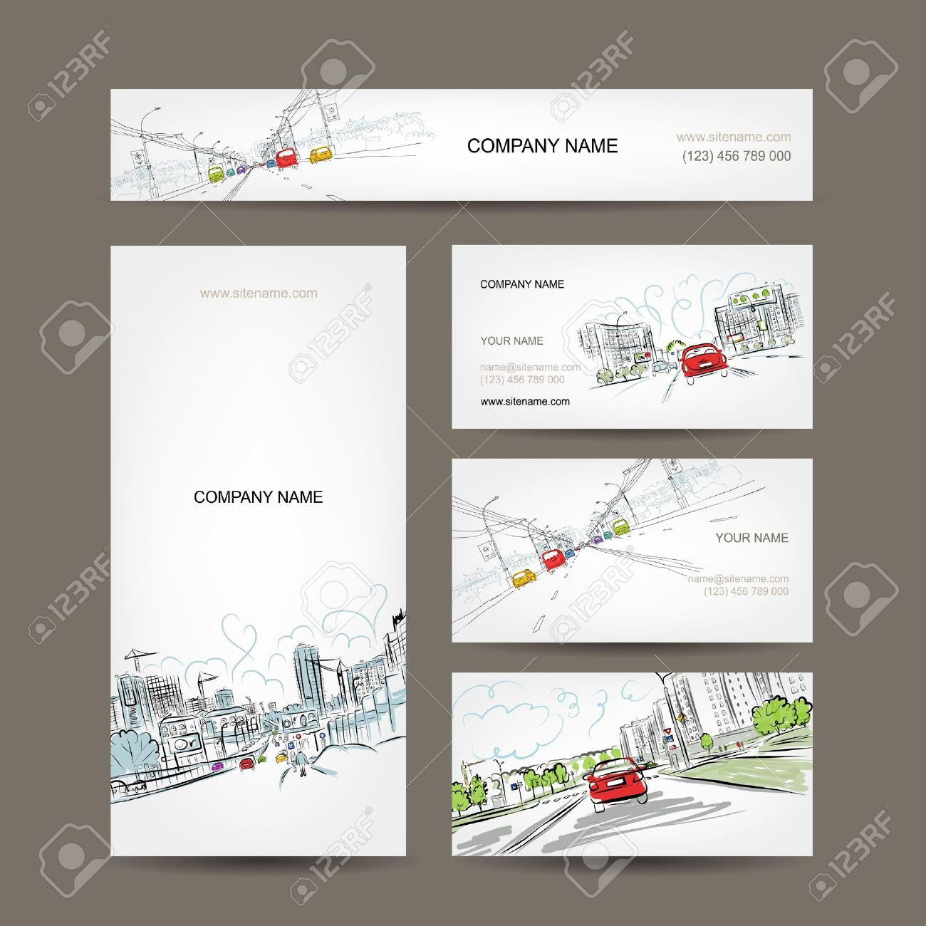 Business Cards Collection, Cars On City Road For Your Design ...