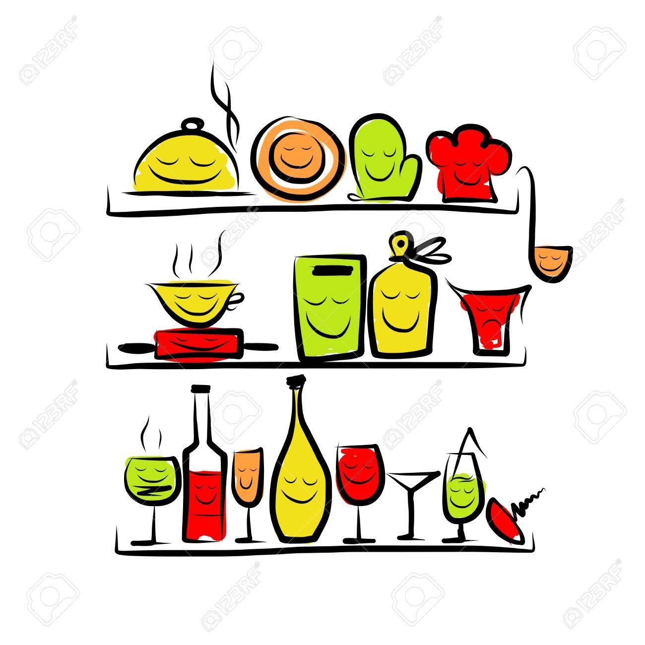 Ustensiles De Cuisine Caracteres Sur Des Etageres Dessin Esquisse