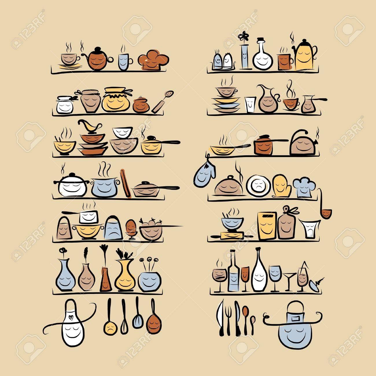 Utensili Da Cucina Caratteri Sugli Scaffali, Disegno Schizzo Per ...