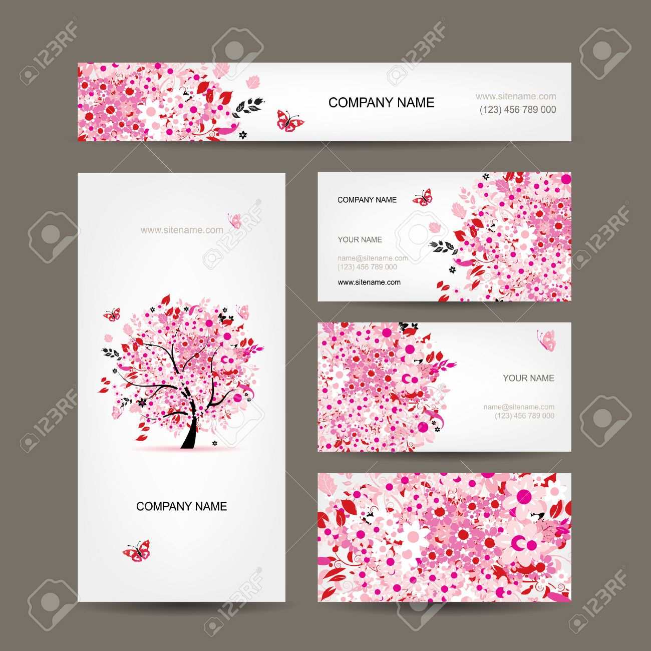 Business Cards Design With Floral Tree Pink Royalty Free Cliparts ...