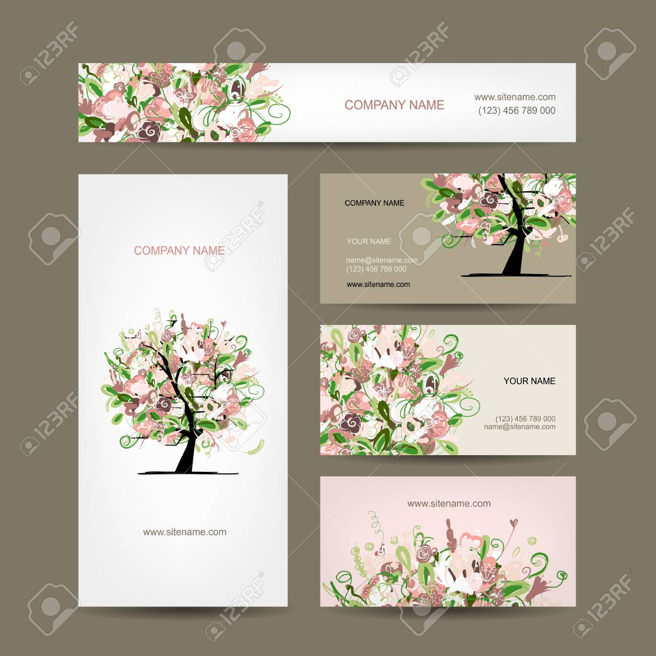 Business Cards Design With Floral Tree Sketch Royalty Free Cliparts ...