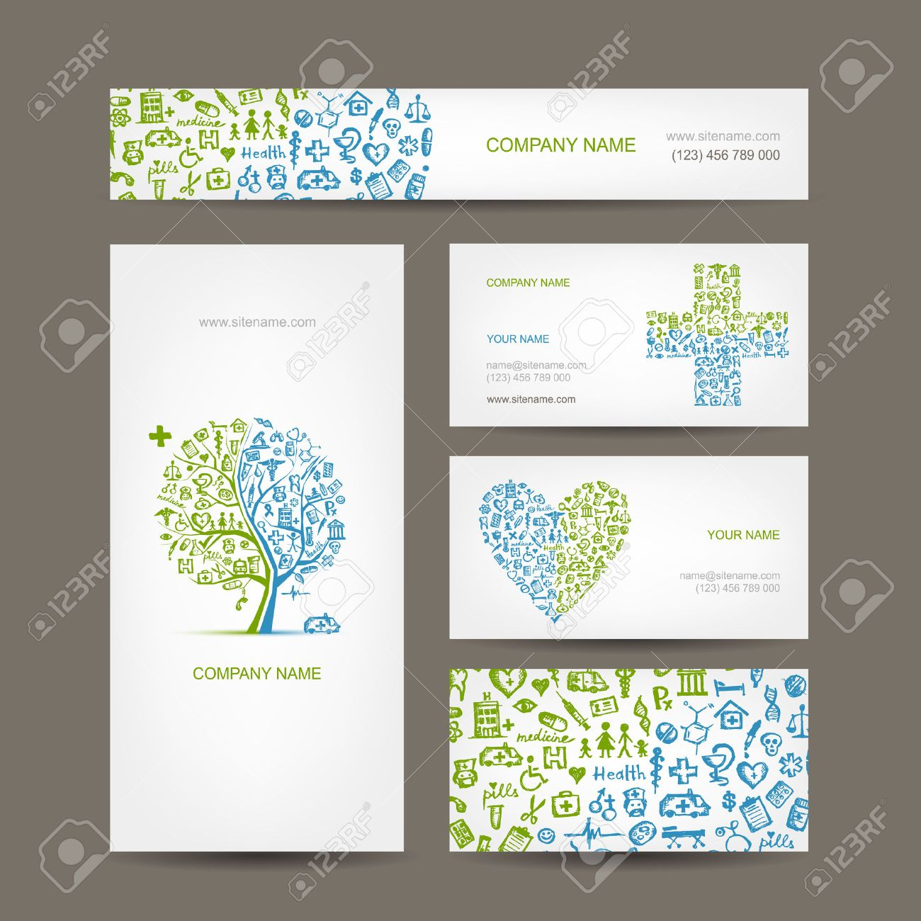 Business Cards With Medical Objects For Your Design Royalty Free ...