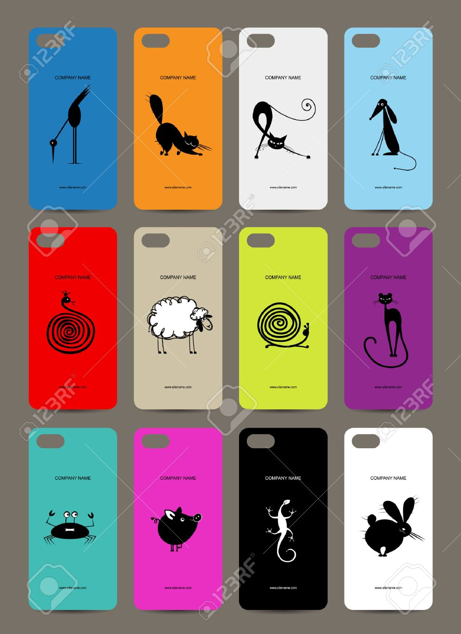 pretty nice 3f2de 4a9ef Mobile phone cover back , 12 funny animals for your design