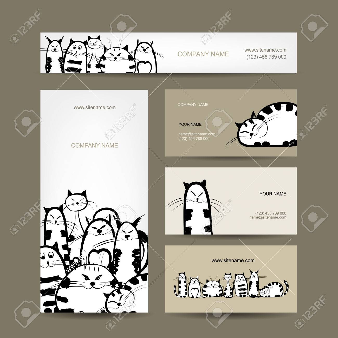 Corporate Business Cards Design With Funny Striped Cats Royalty Free ...