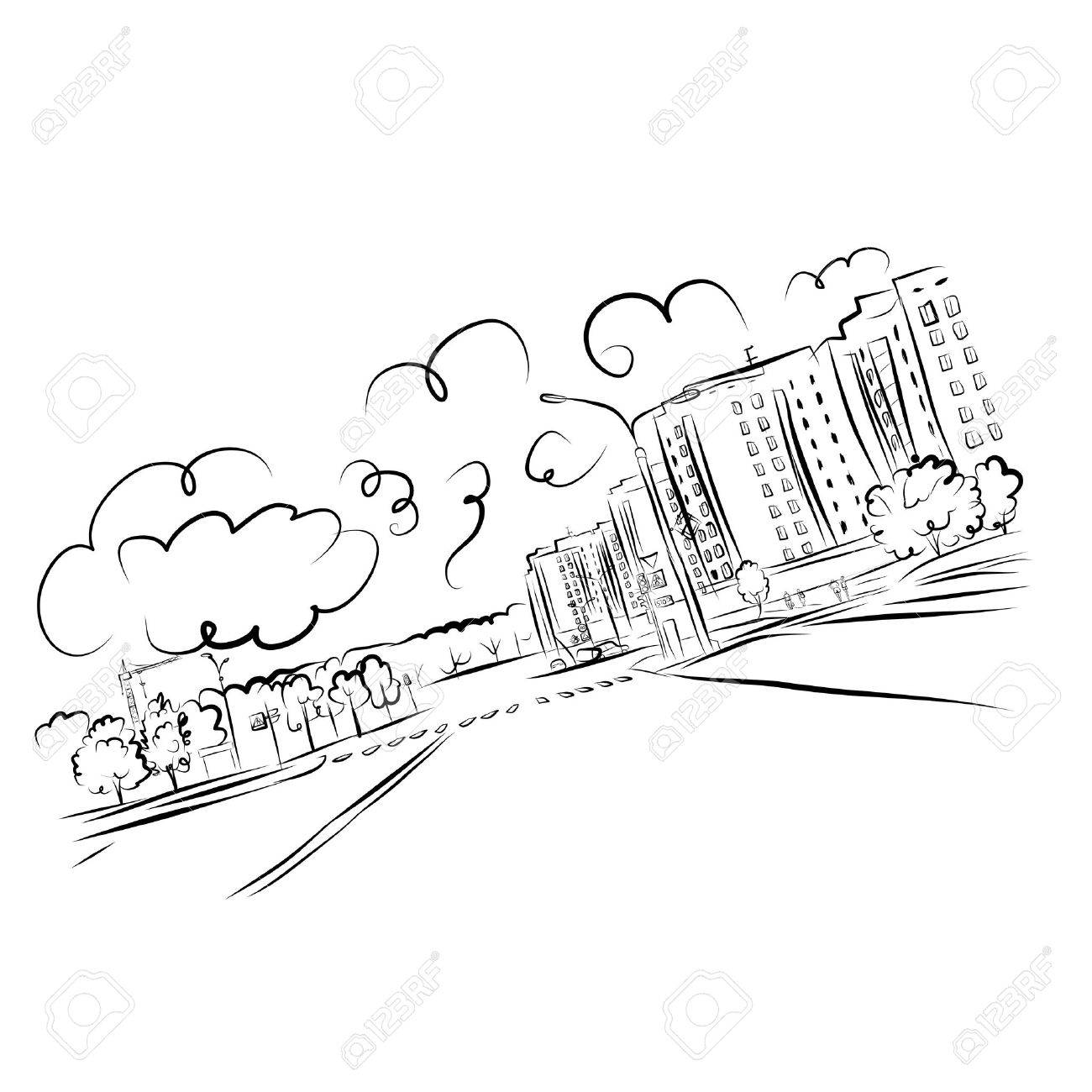 Sketch of cityscape for your design - 23228775