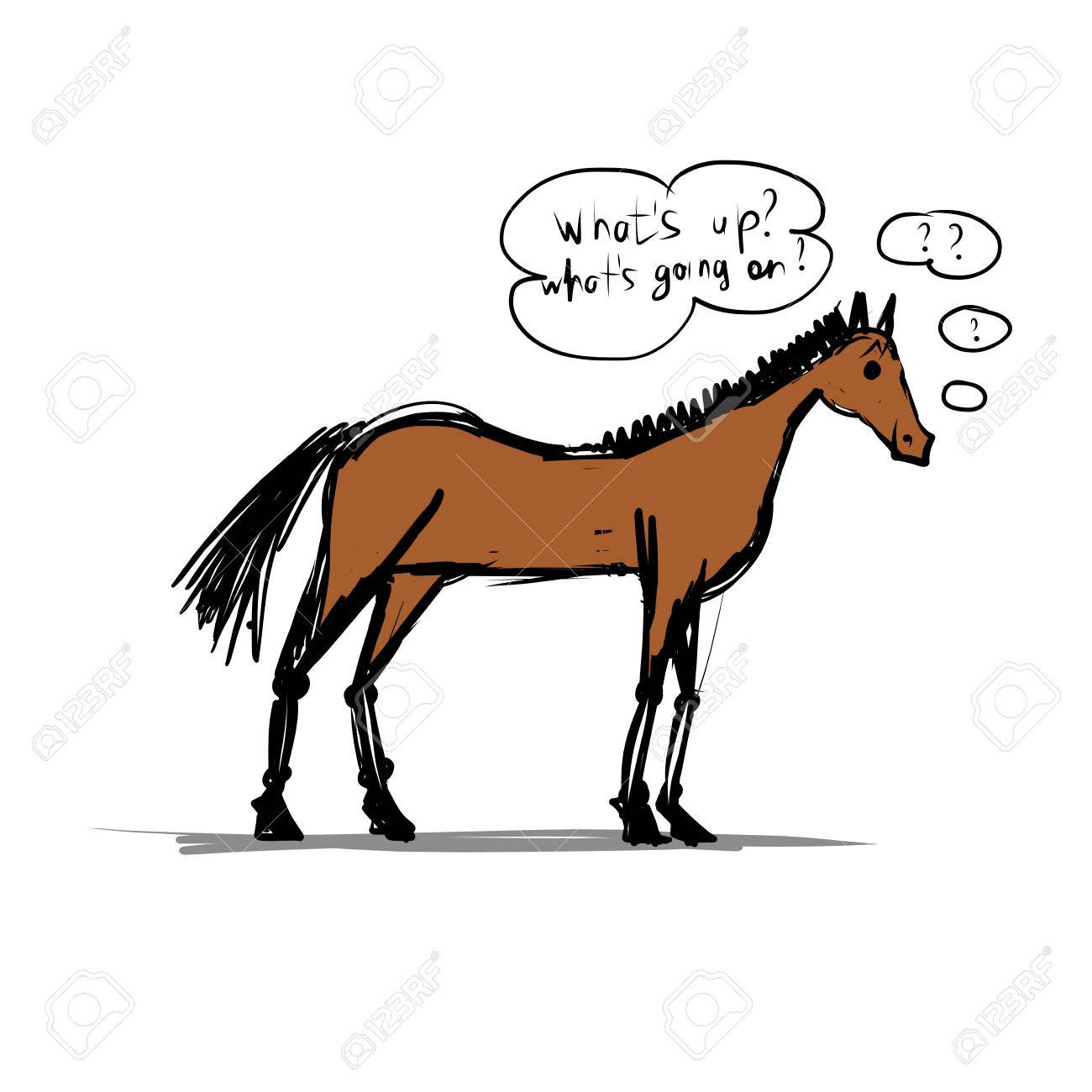 Funny Horse Sketch Royalty Free Cliparts Vectors And Stock Illustration Image 23470060