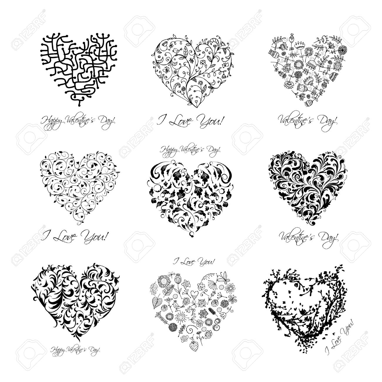 set of valentine hearts for your design royalty free cliparts