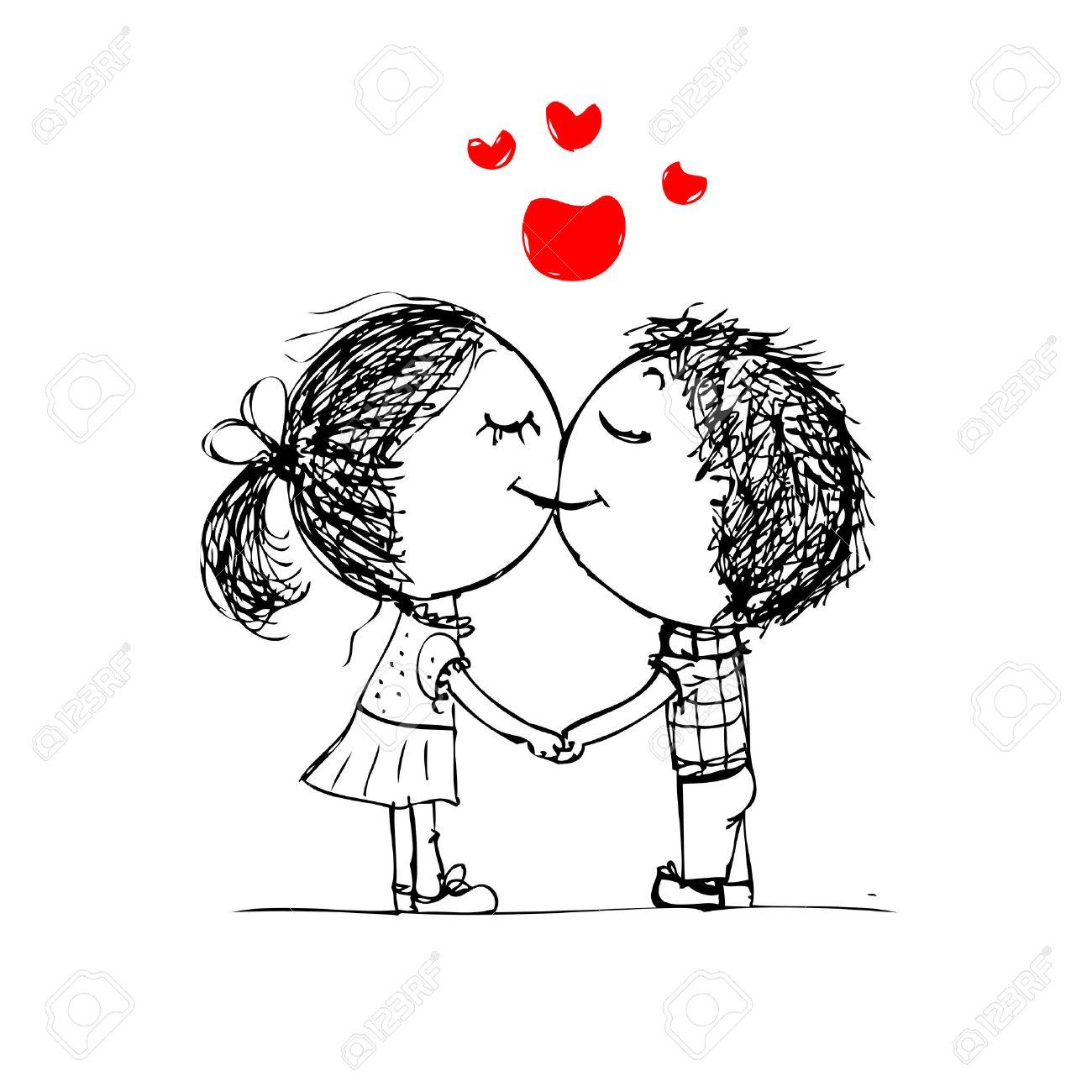 カップルがキス、あなたのデザインのためのバレンタインのスケッチ
