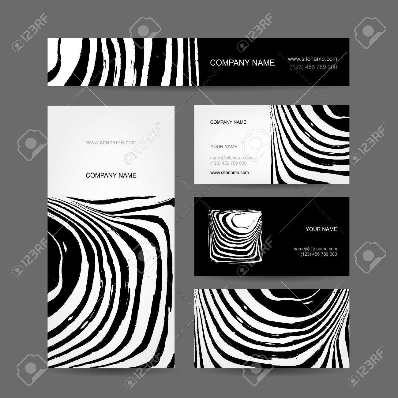 Set Of Abstract Creative Business Cards, Zebra Print Design Royalty ...