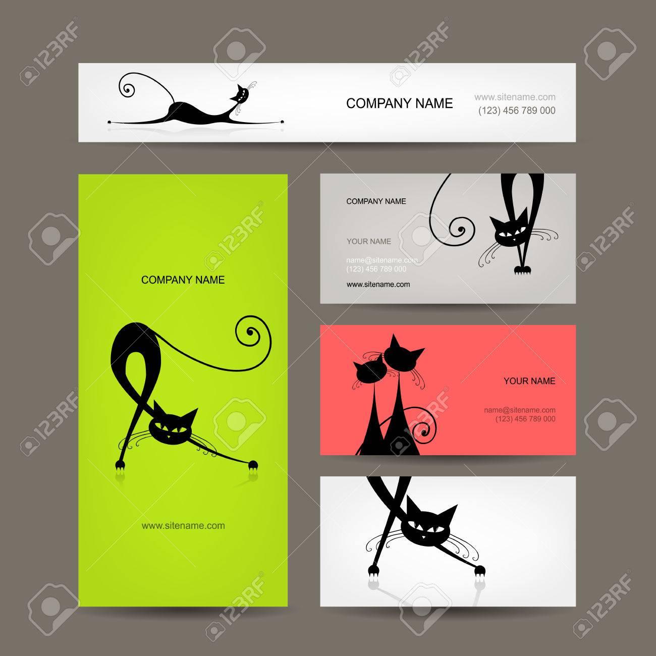 Cartes De Visite A Chats Noirs Pour Votre Conception Clip Art Libres