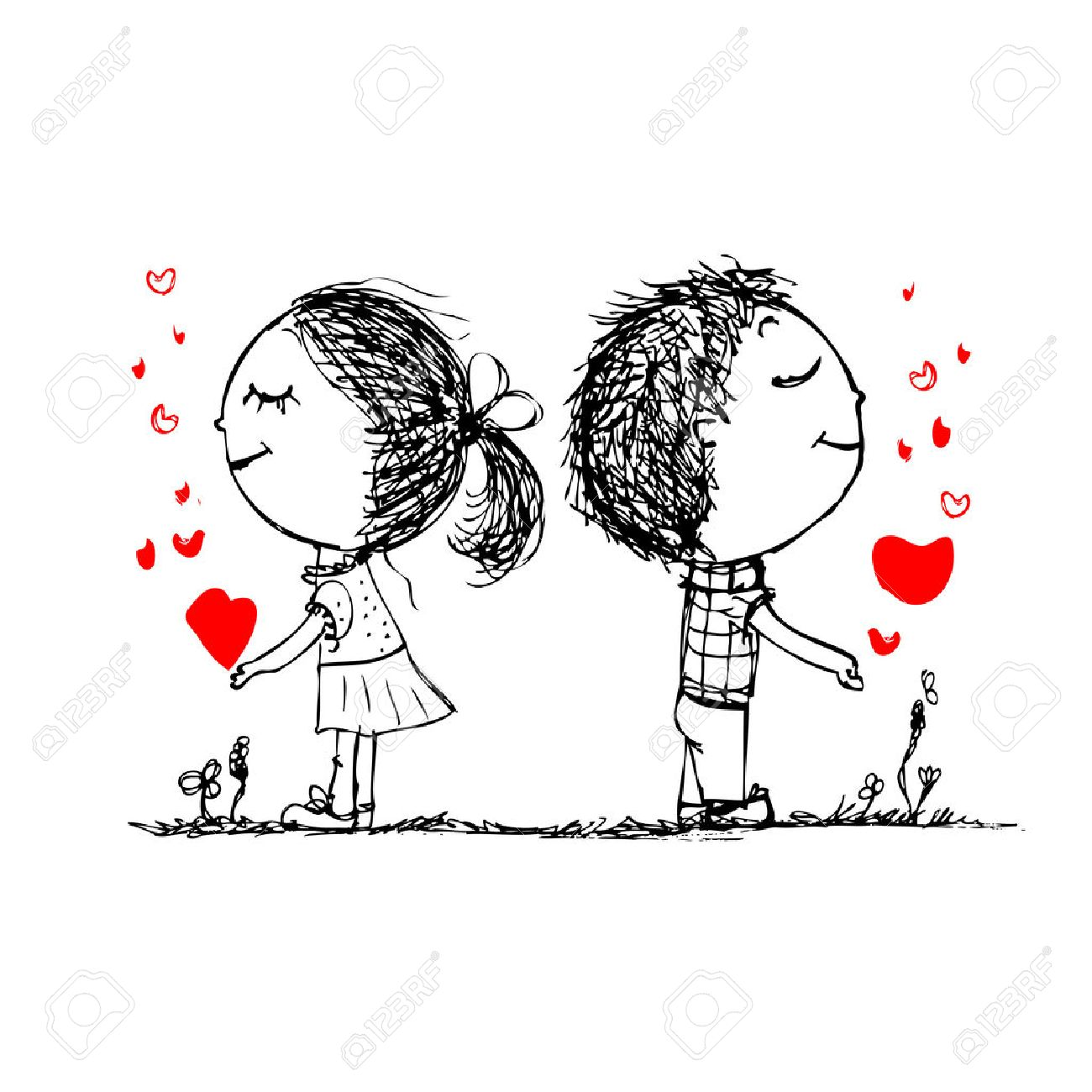 Couple in love together, valentine sketch for your design Stock Vector - 27321759