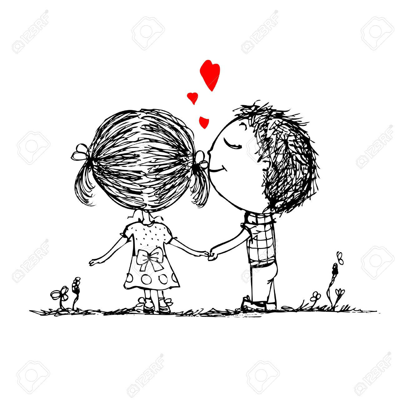 Couple in love together, valentine sketch for your design Stock Vector - 27321761