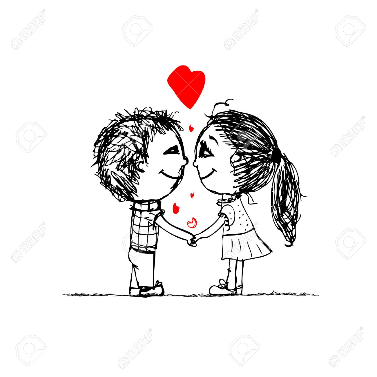 Couple in love together valentine sketch for your design stock vector 27321778