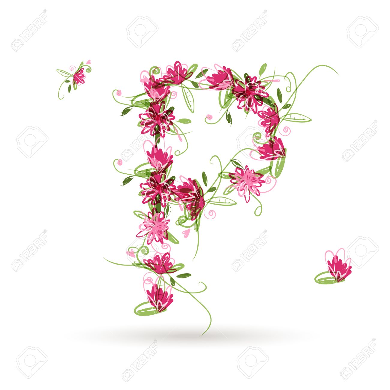 Floral Letter P For Your Design Stock Vector