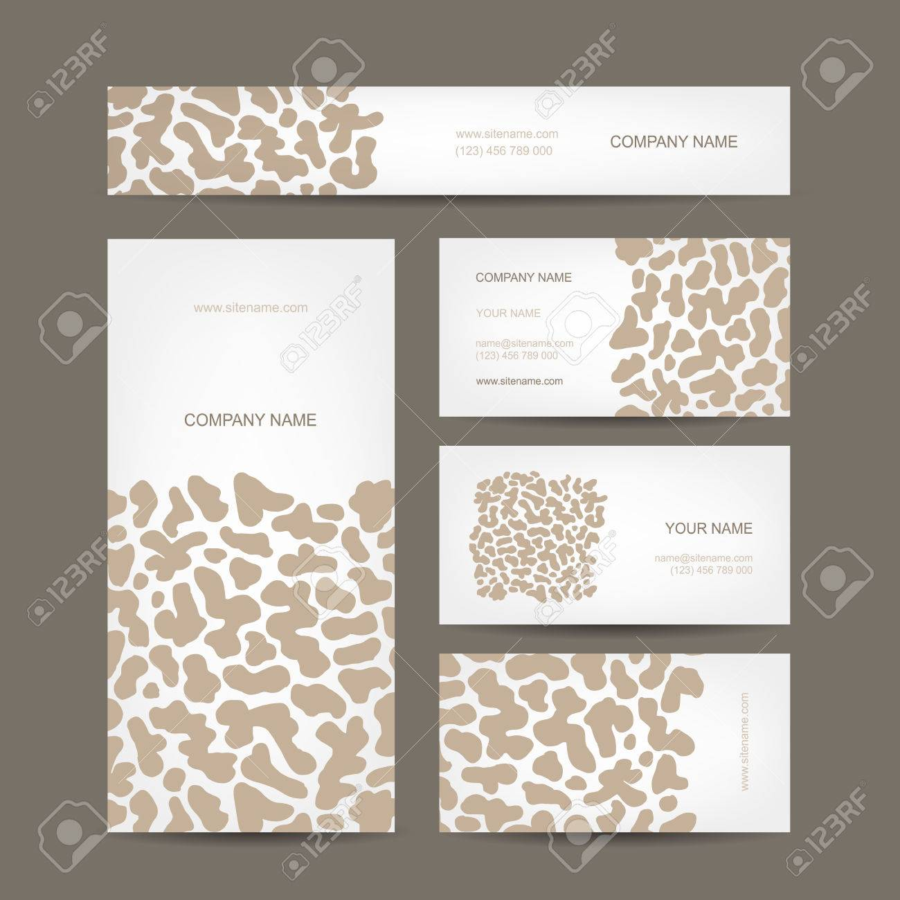 Set Of Business Cards Design, Animal Print Royalty Free Cliparts ...
