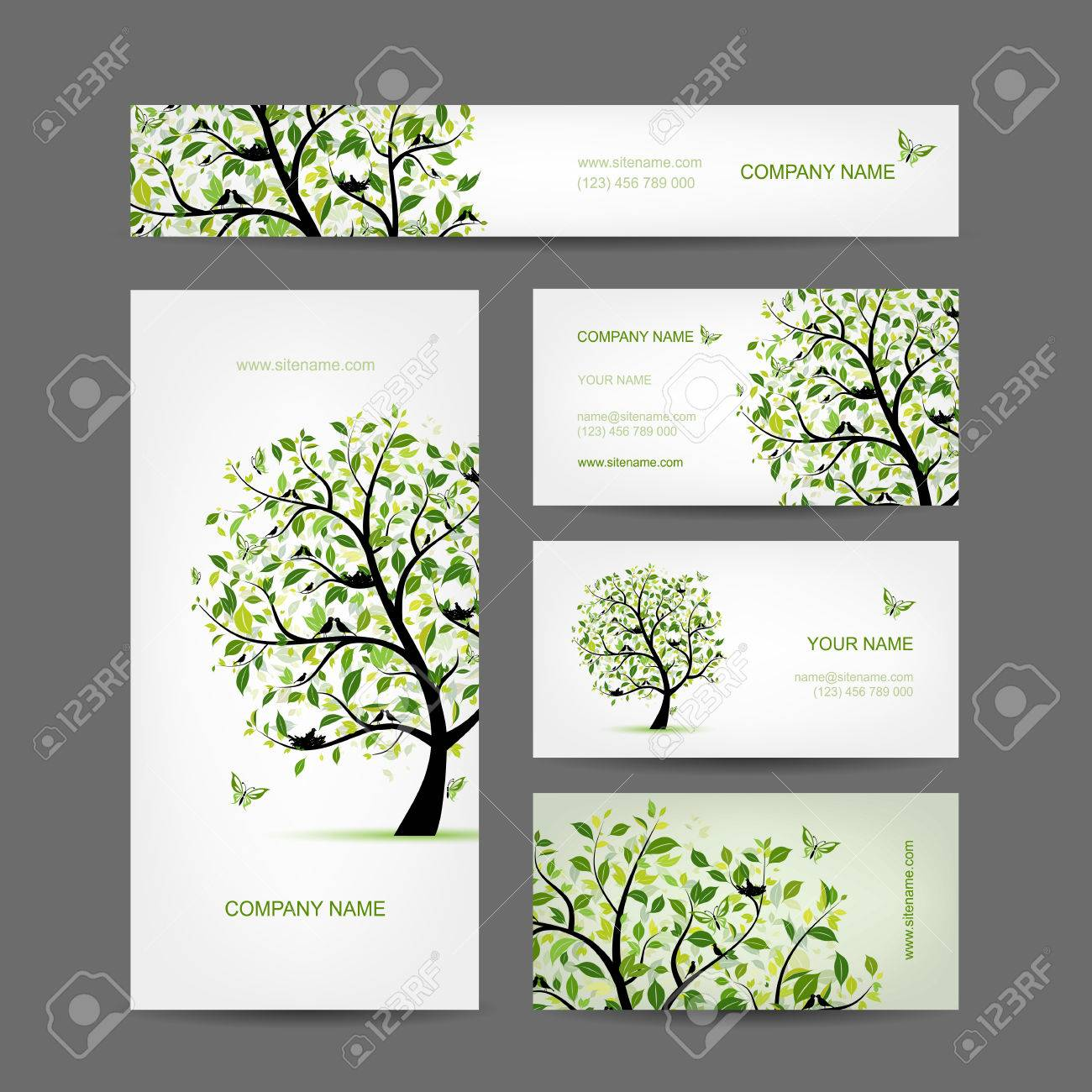 Business Cards Design, Spring Tree With Birds Royalty Free Cliparts ...