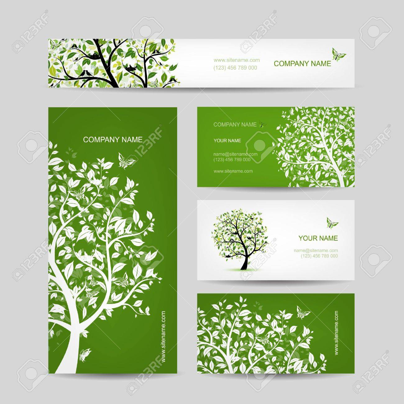Business cards design, spring tree with birds Stock Vector - 29227234