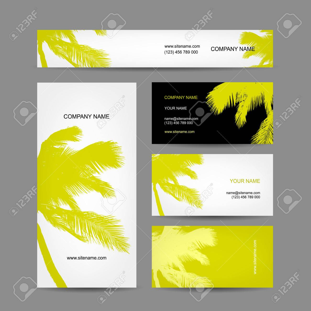 123 business cards gallery free business cards set of business cards design palm tree royalty free cliparts set of business cards design palm magicingreecefo Choice Image