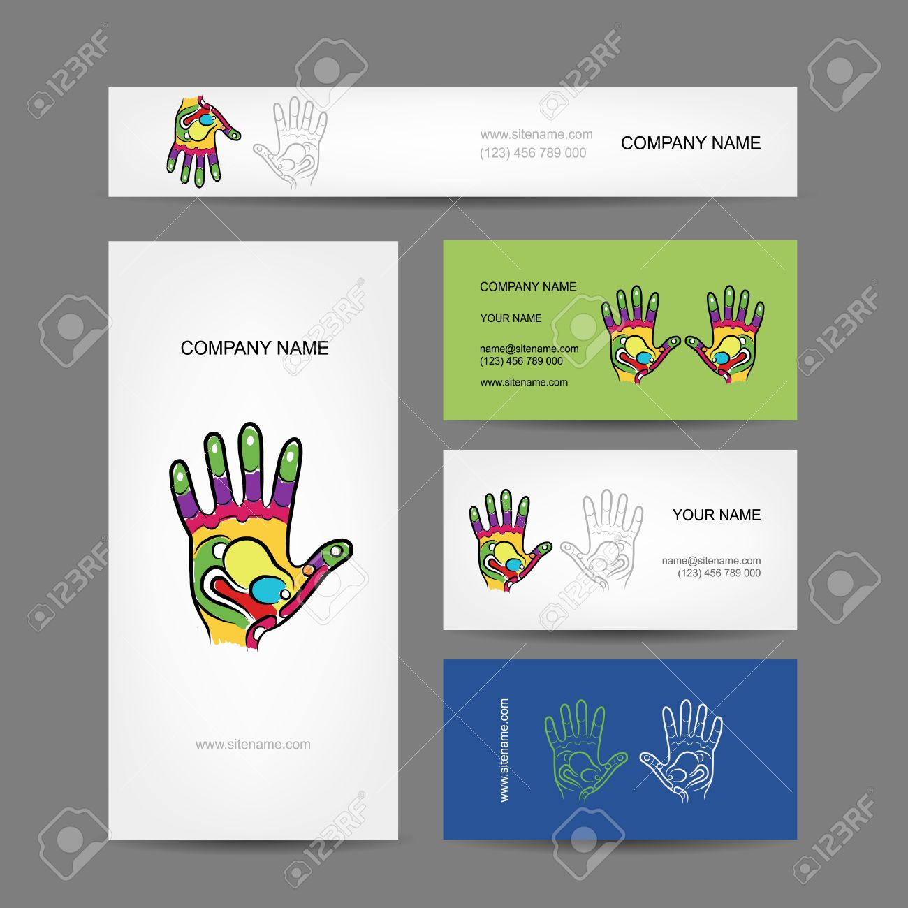 Business Cards Design With Hand, Massage Reflexology Royalty Free ...