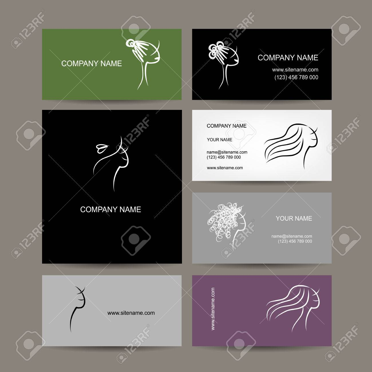 Set Of Business Cards Design, Female Hairstyle Sketch Royalty Free ...