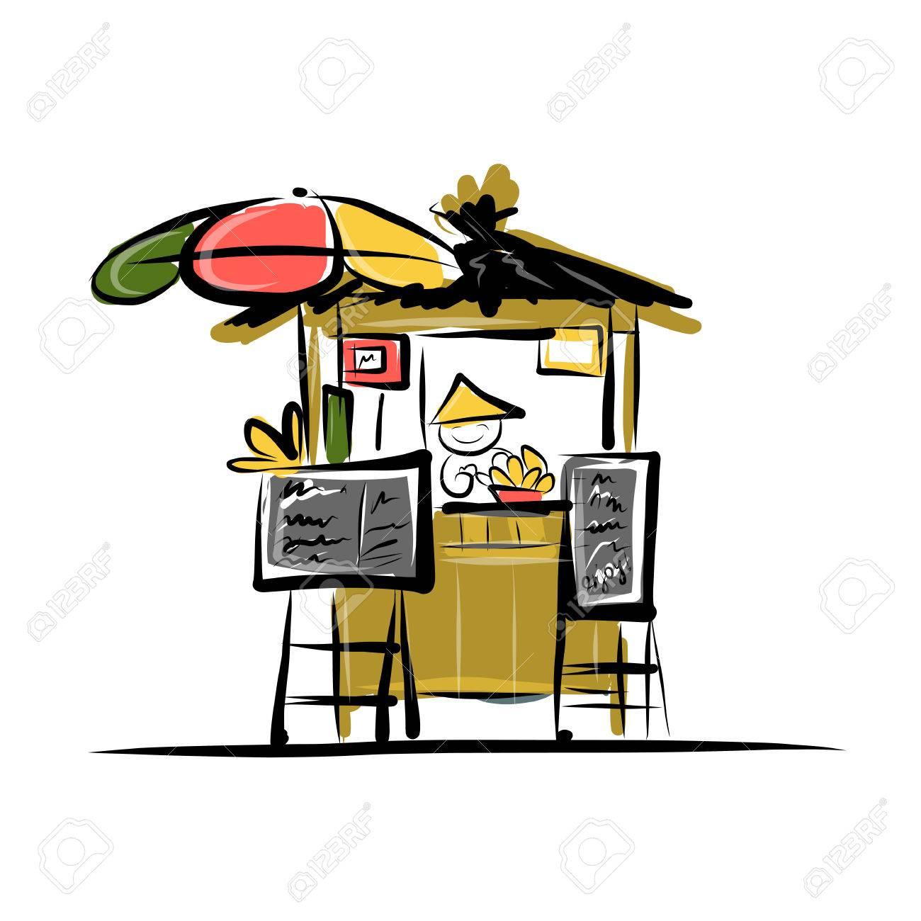 Asian retail seller on street market, sketch for your design Stock Vector - 29227861