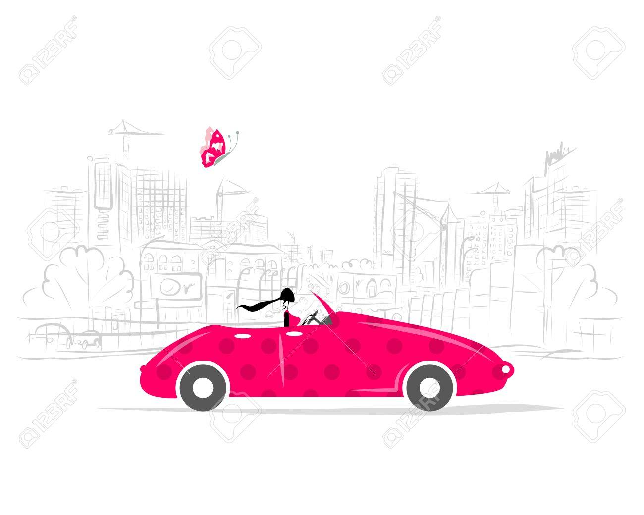 Woman driving car for your design Stock Vector - 29228032