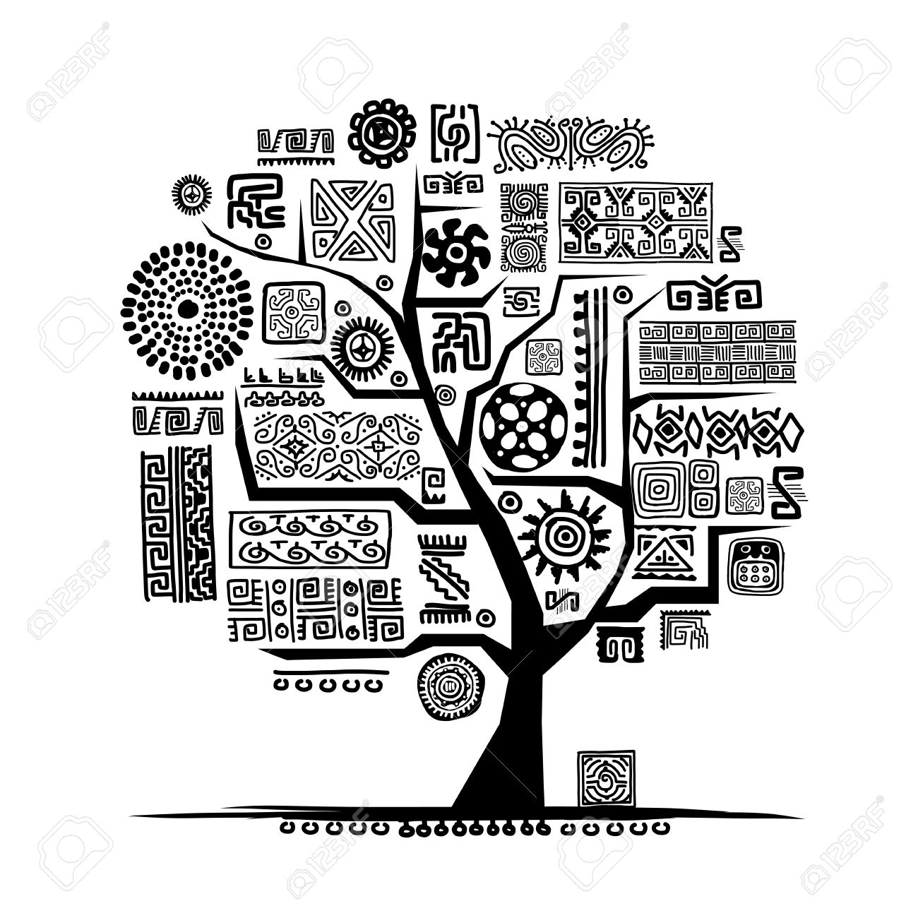 Ethnic tree with handmade ornament for your design Stock Vector - 29228092