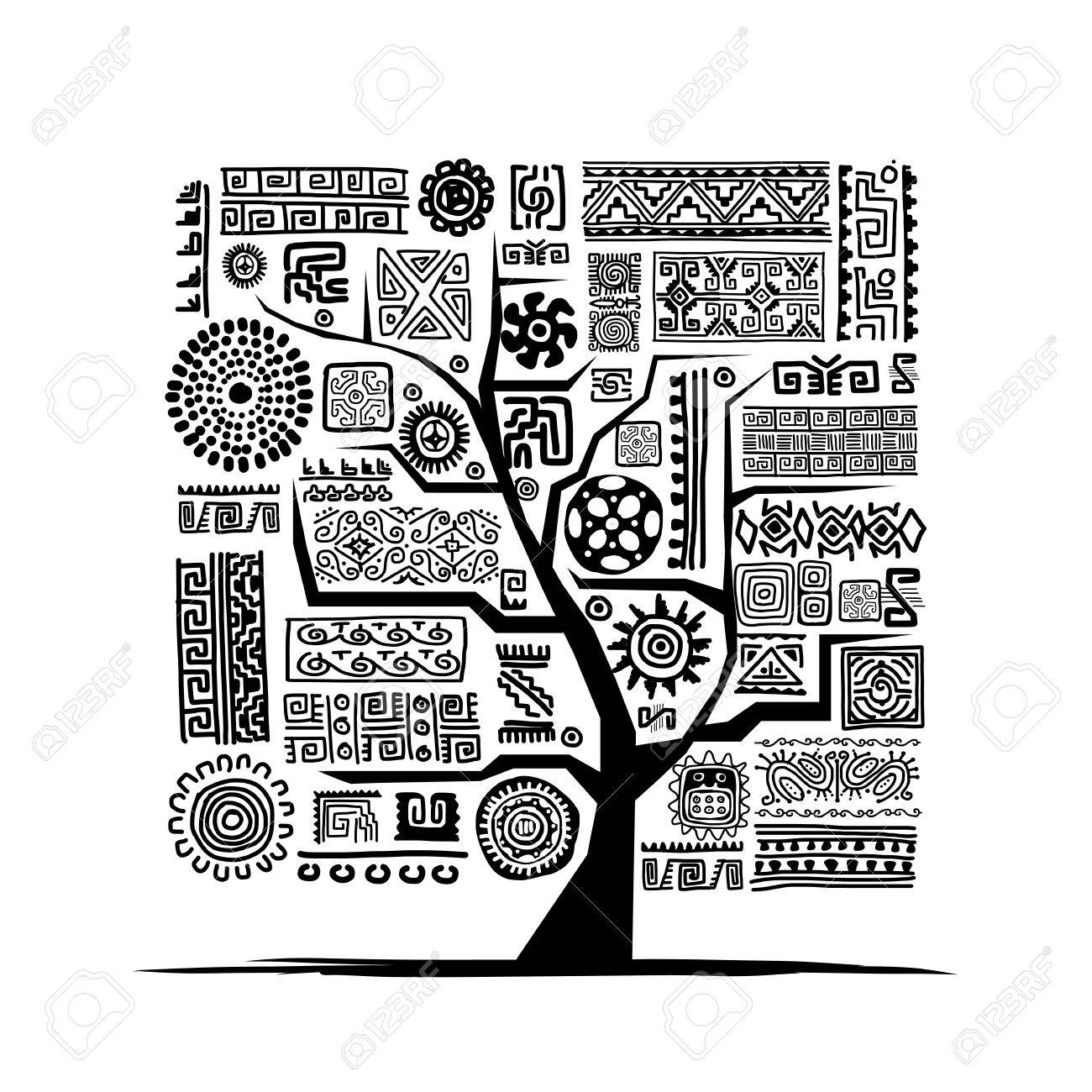 Ethnic tree with handmade ornament for your design Stock Vector - 29228134