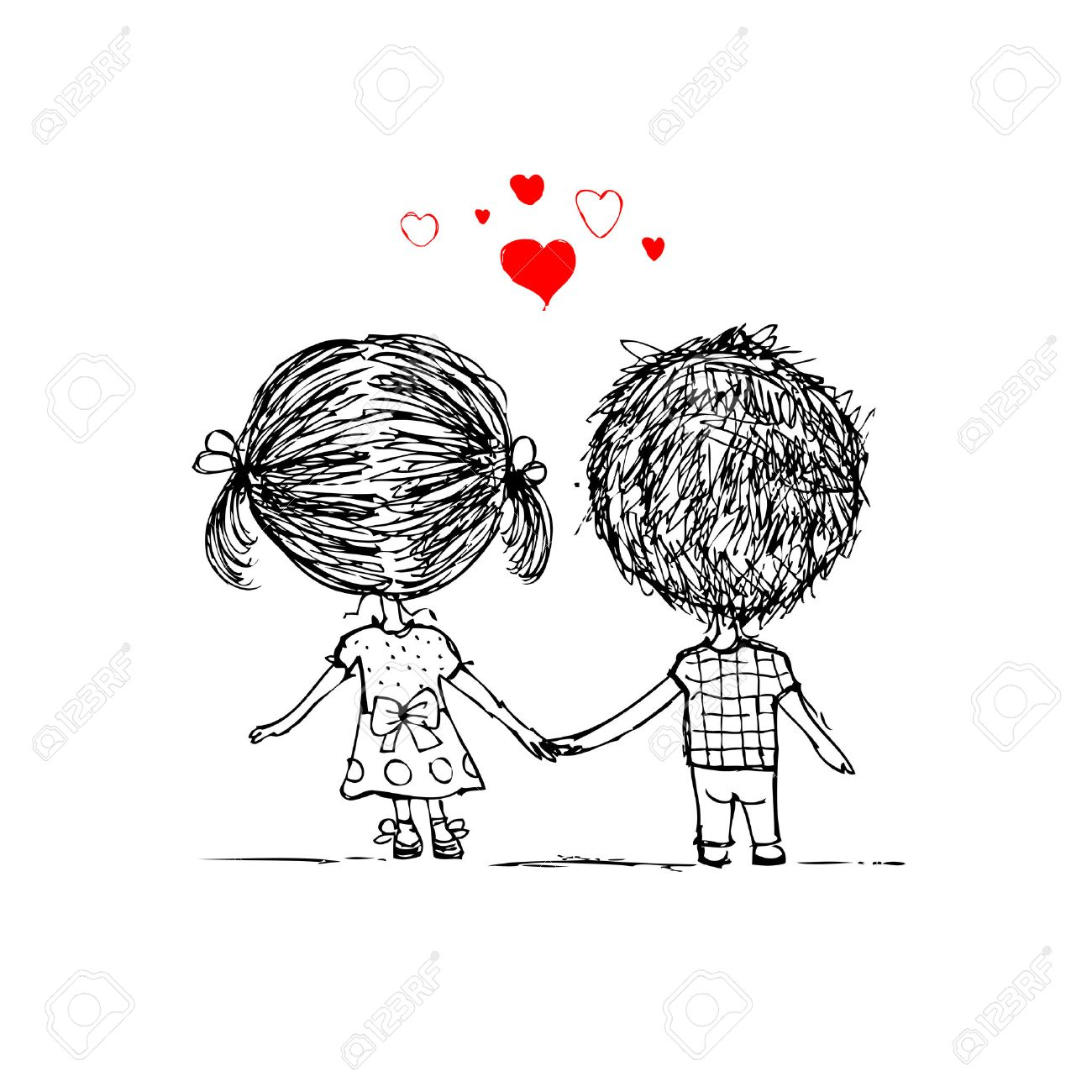 Couple in love together, valentine sketch for your design Stock Vector - 29253617