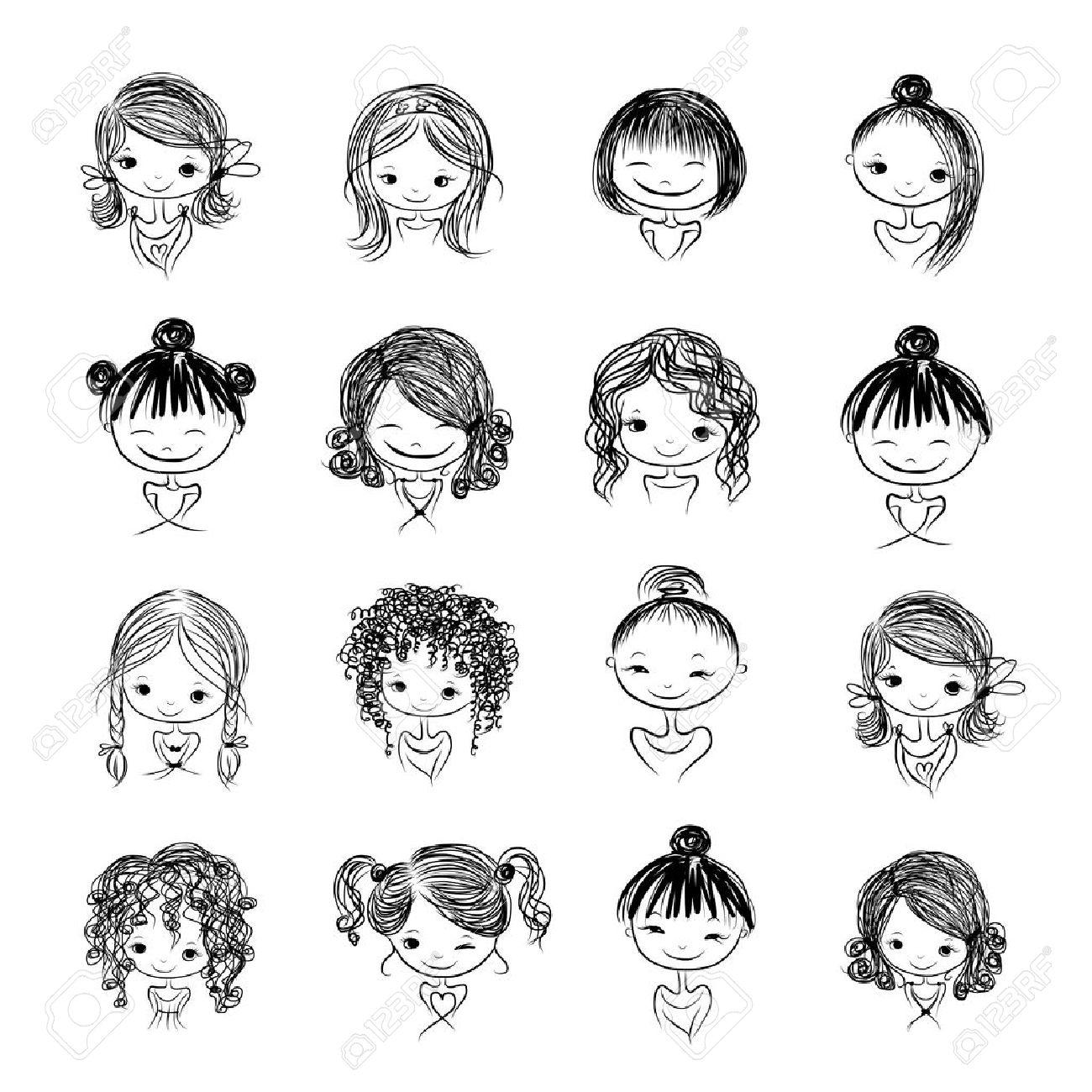 Set of cute girl characters, cartoon for your design Stock Vector - 30683264