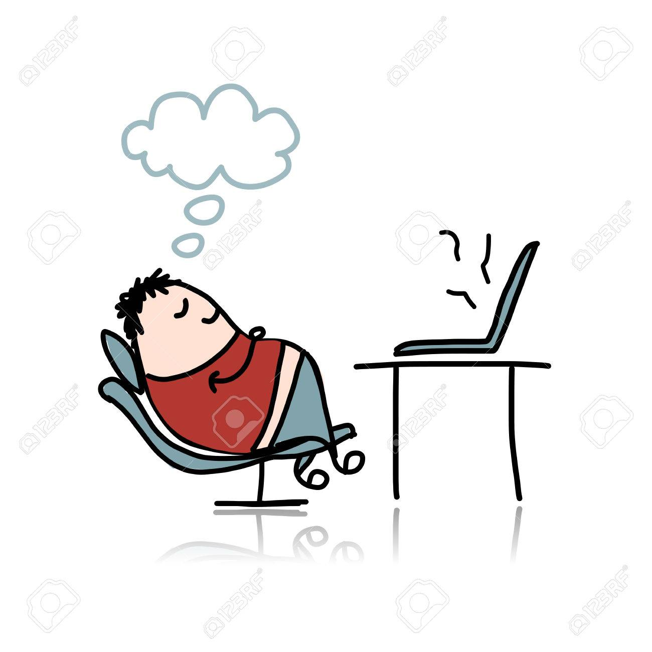 Man sleeping on armchair at workplace Stock Vector - 30683298