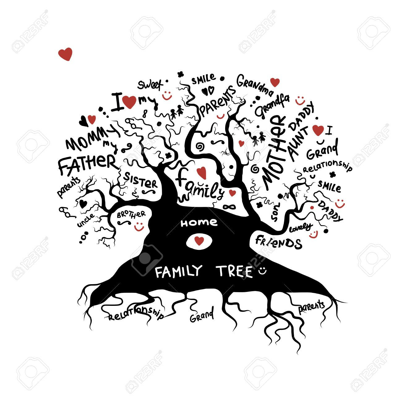 Family tree sketch for your design Stock Vector - 30683392