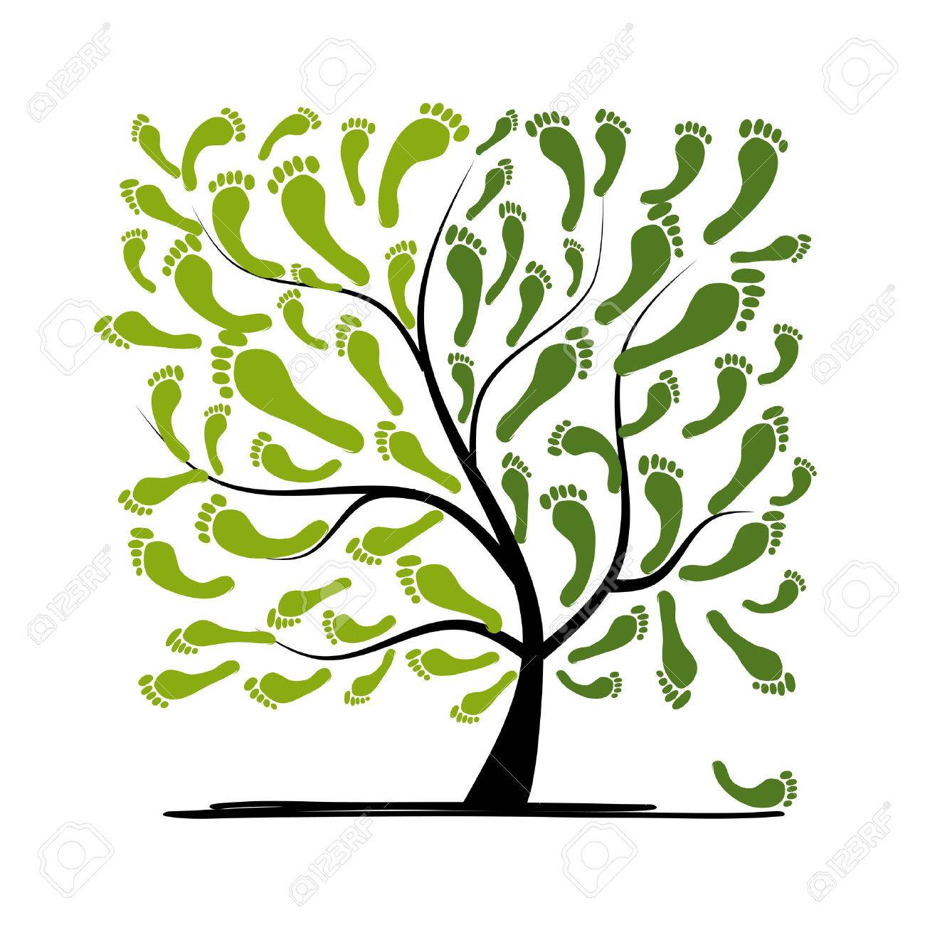 Green footprint tree for your design Stock Vector - 30683543