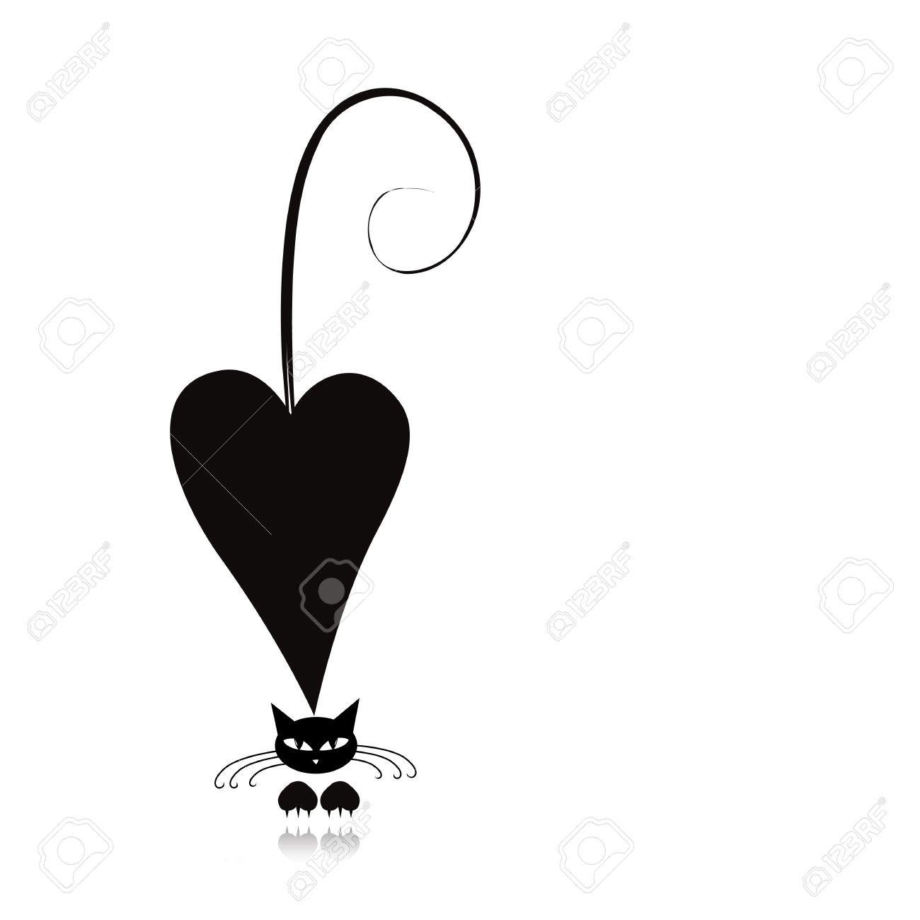 Cat in love, black silhouette for your design Stock Vector - 30683693