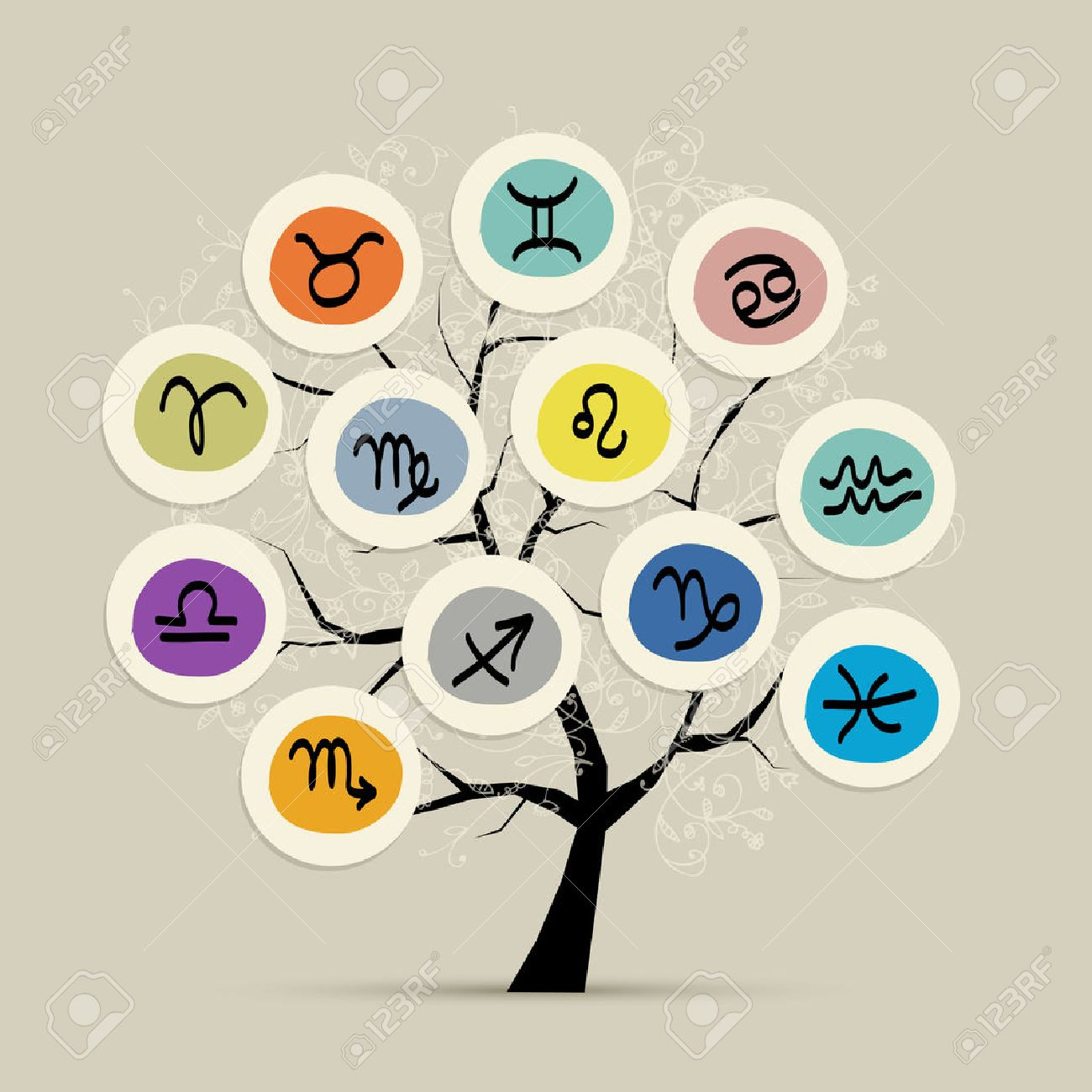 Art tree with zodiac signs for your design Stock Vector - 30689278