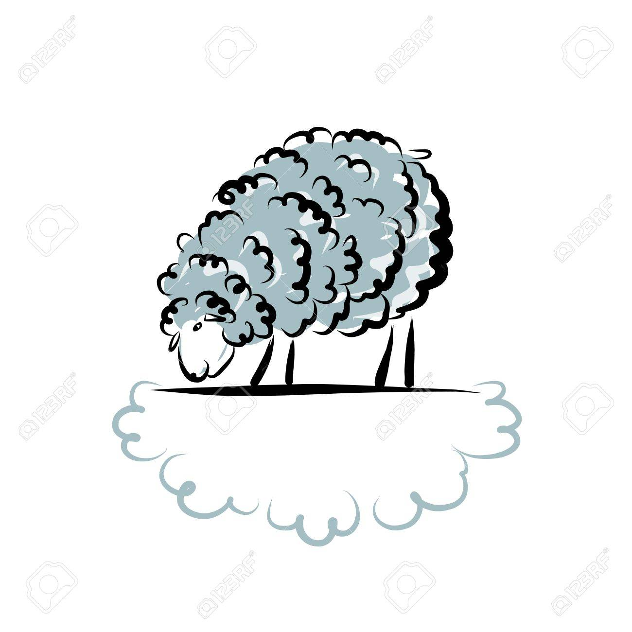 Sheep Sketch For Your Design. Vector Illustration Royalty Free ...