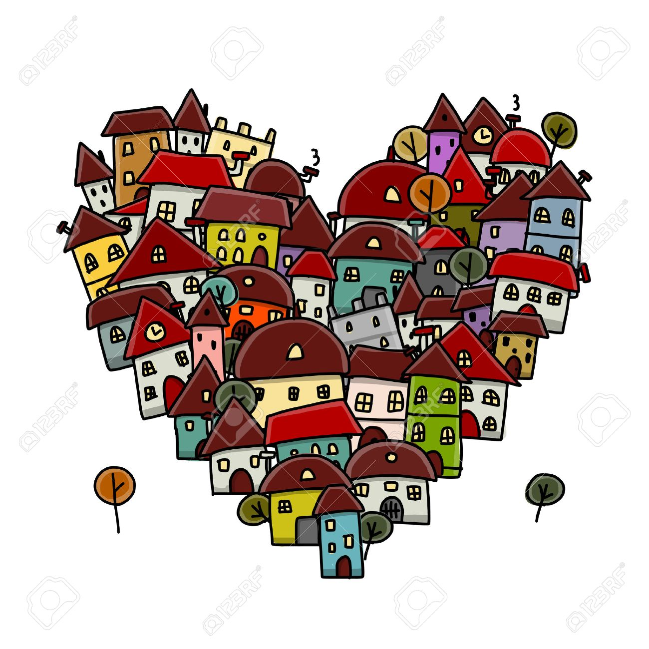City of love, heart shape sketch for your design Stock Vector - 31488697