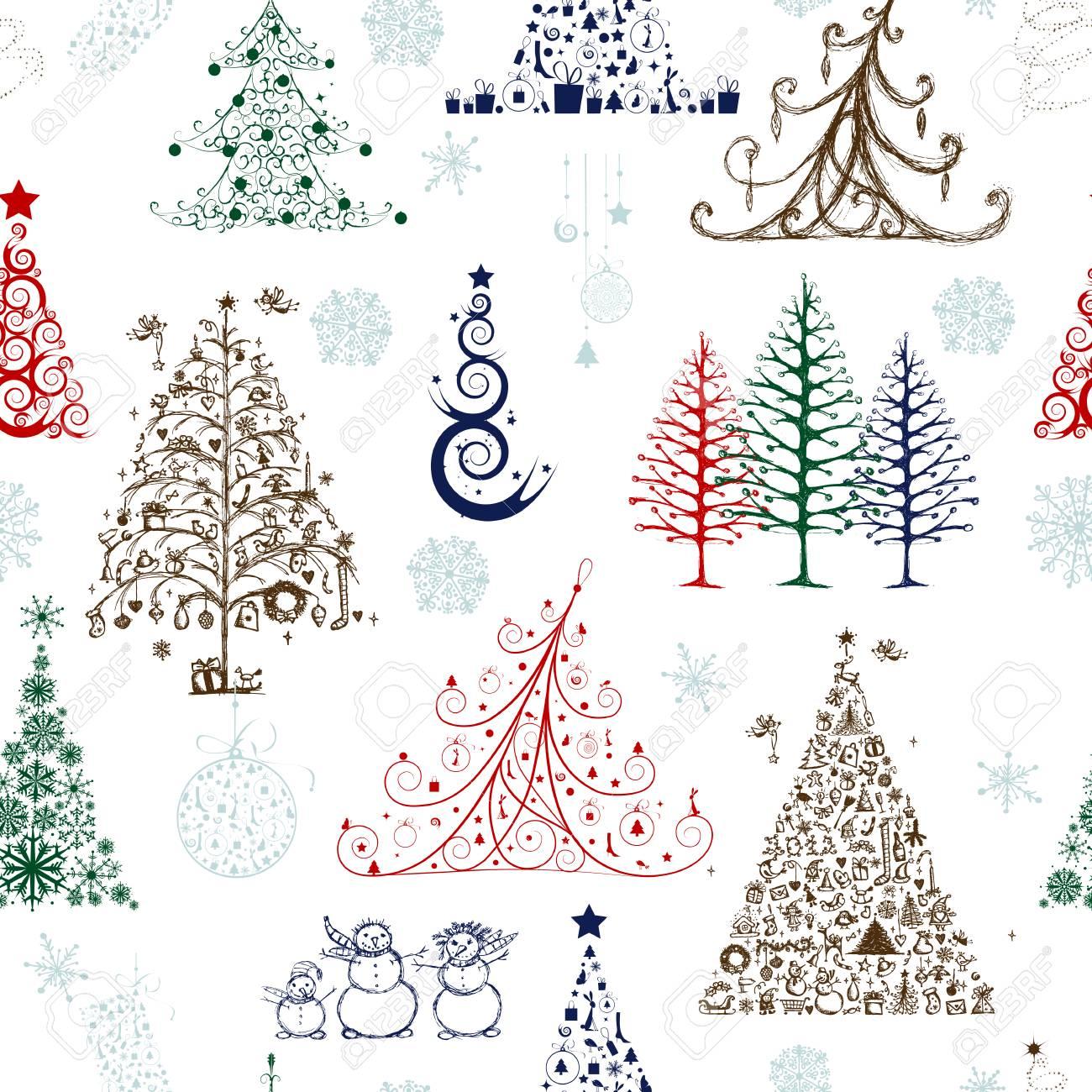 Disegni Di Natale Vettoriali.Alberi Di Natale Modello Senza Soluzione Di Continuita Per Il Vostro Disegno