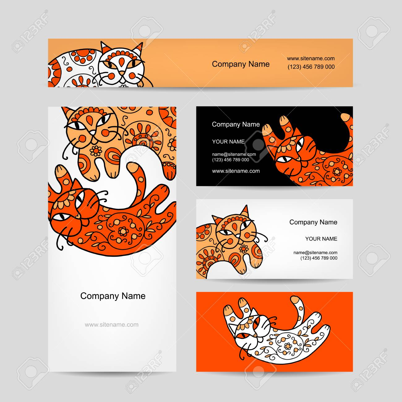 Art cats with floral ornament business cards design royalty free art cats with floral ornament business cards design stock vector 31730753 reheart Image collections