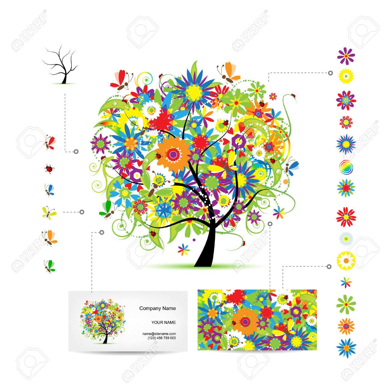 Infographic tree with funny birds business card template royalty infographic tree with funny birds business card template stock vector 32490303 flashek Images
