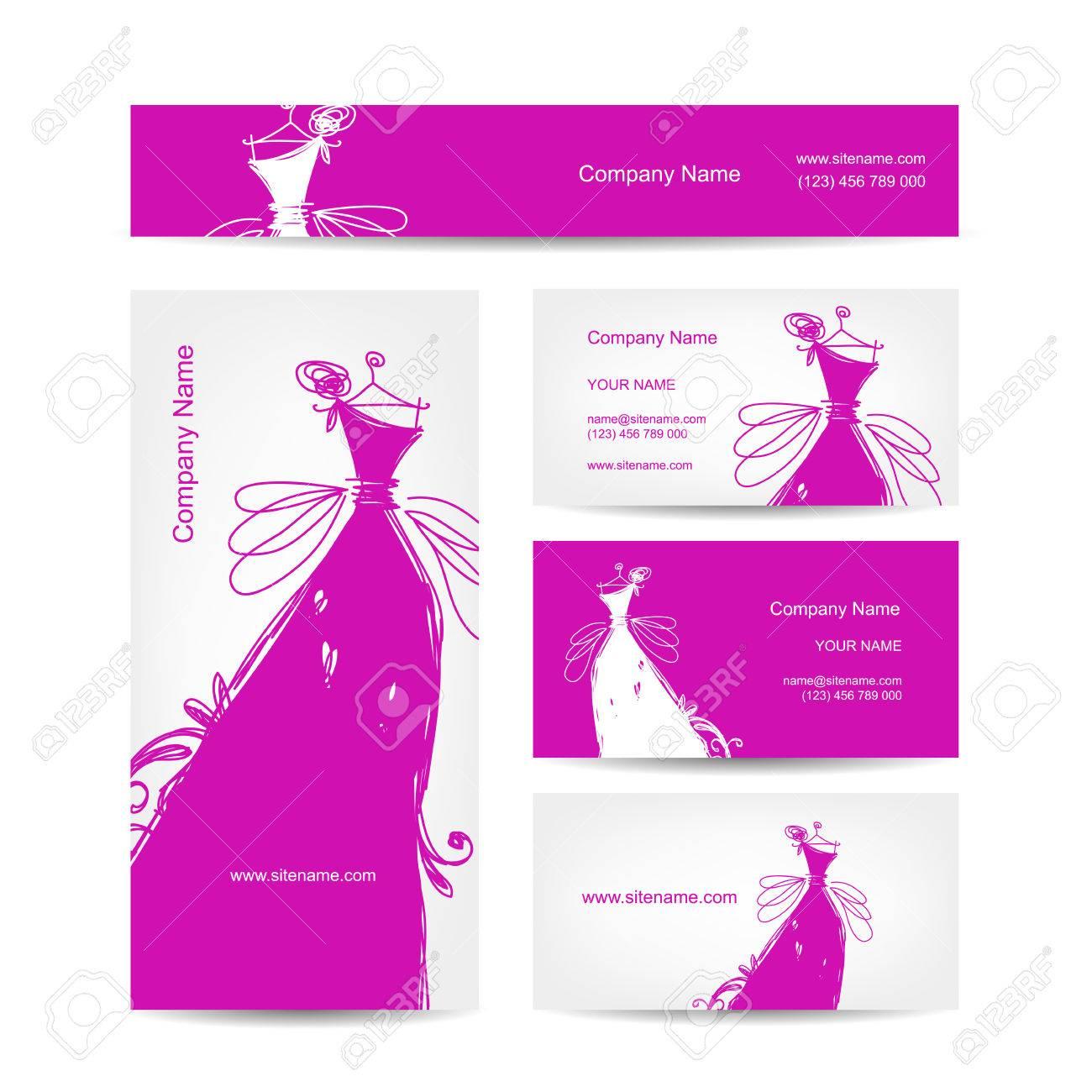 Tarjetas De Visita Con El Vestido De Novia Para Su Diseño ...
