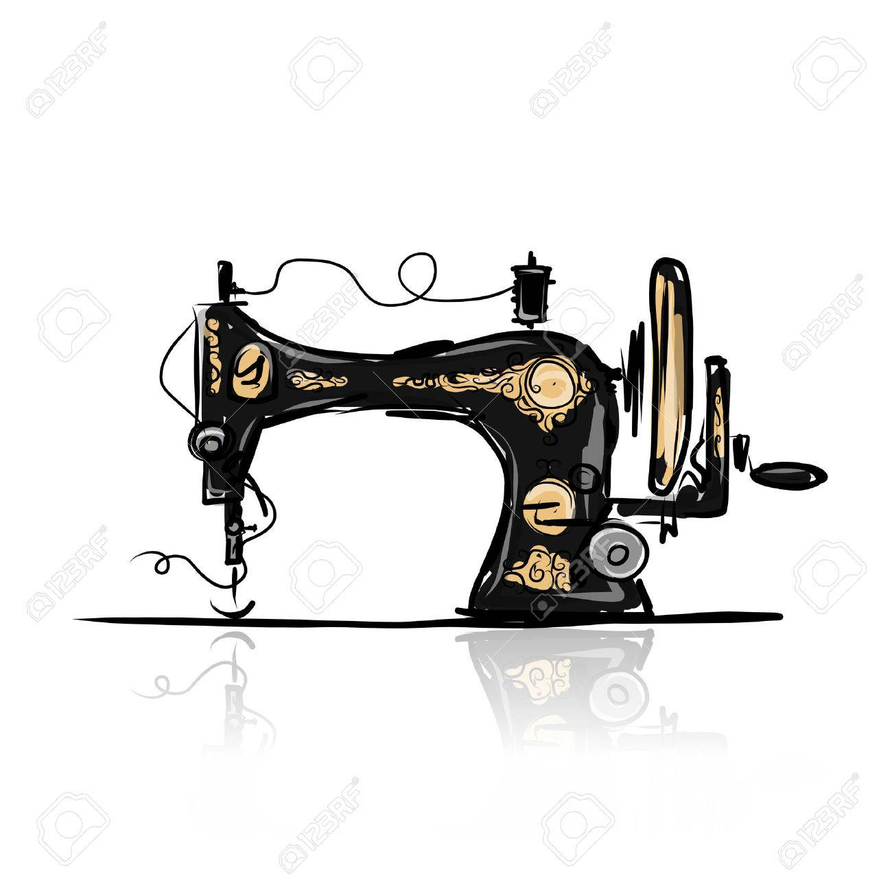 Sewing machine retro sketch for your design Stock Vector - 34050491