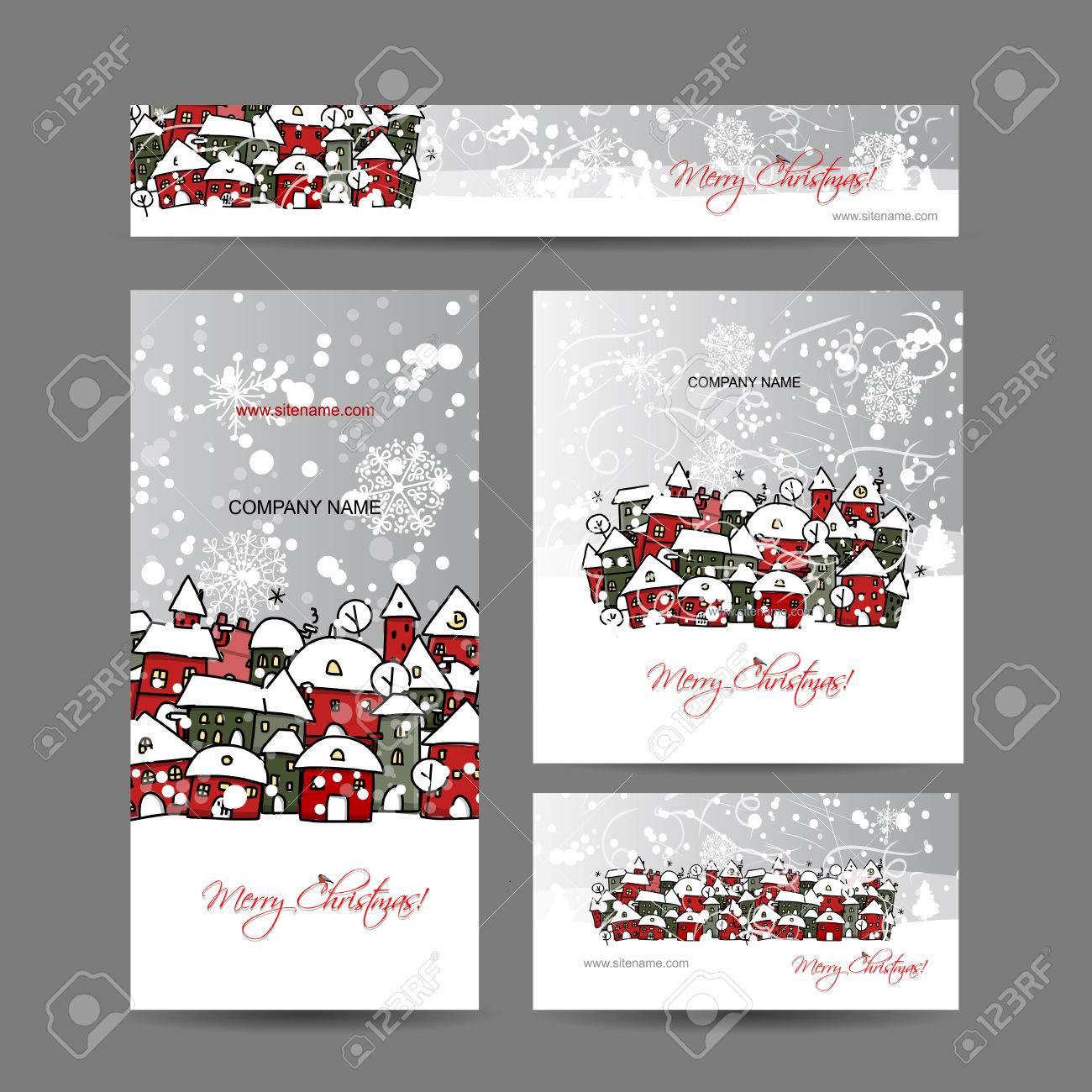 Foto Di Natale Neve Inverno 94.Cartoline Di Natale Con Inverno Citta Schizzo Per La Progettazione