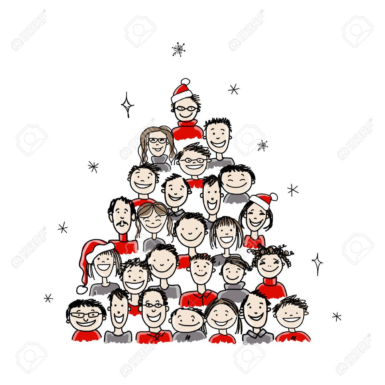 christmas tree made from group of people for your design royalty