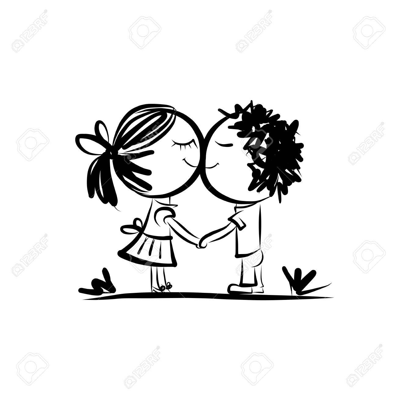 Couple in love together, valentine sketch for your design Stock Vector - 34480262