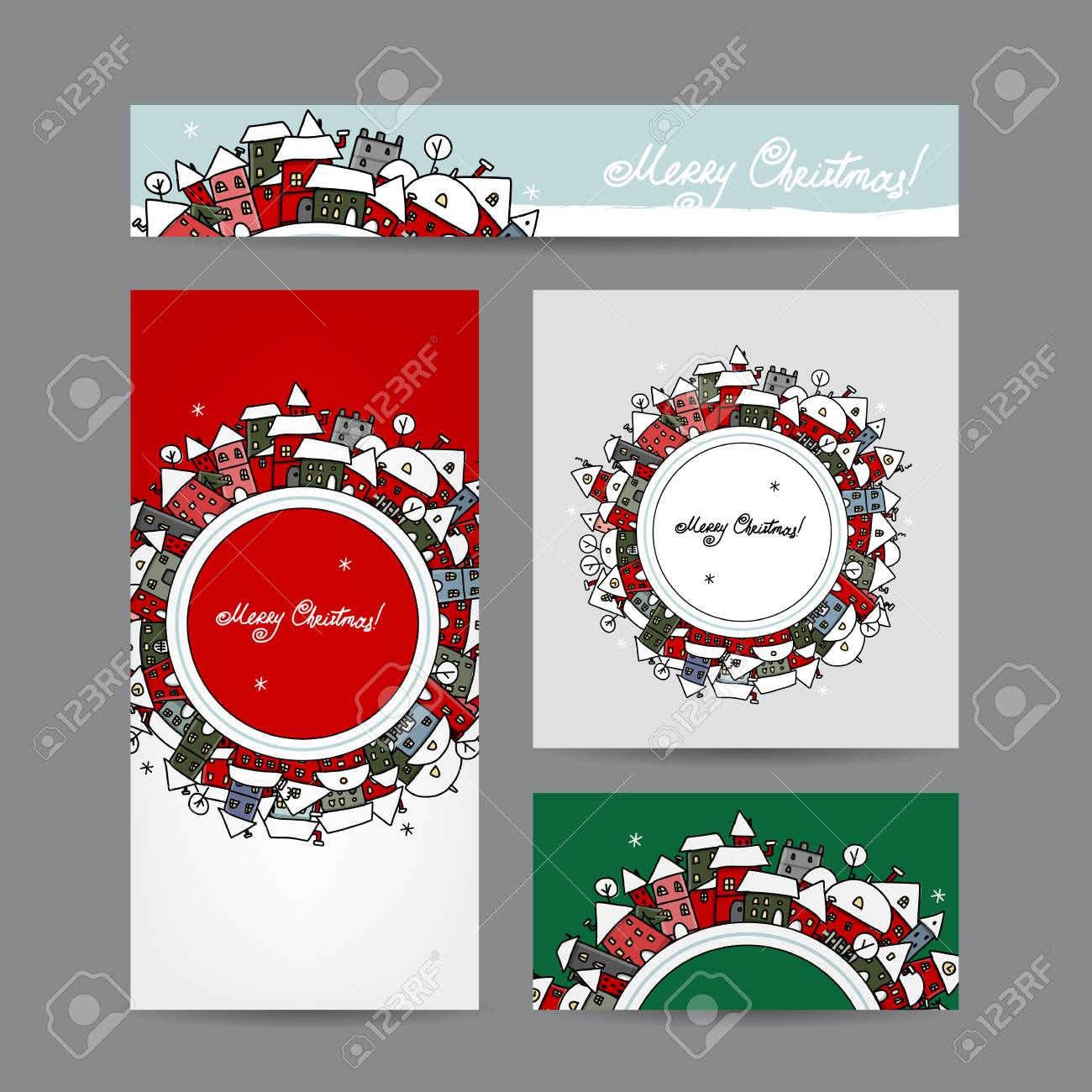 Christmas Cards With Winter City Sketch For Your Design Royalty Free ...