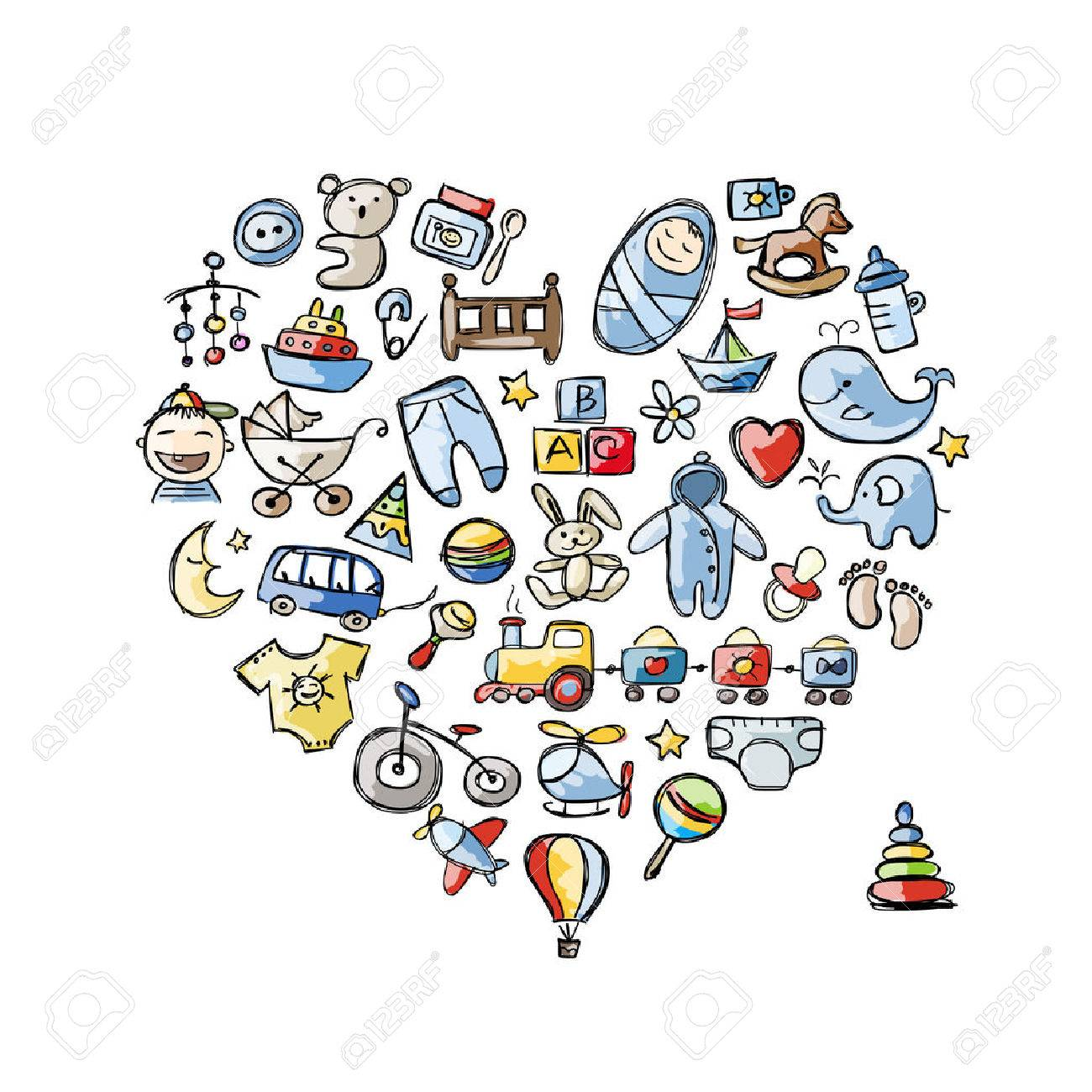 Heart shape design with toys for baby boy Stock Vector - 35754321