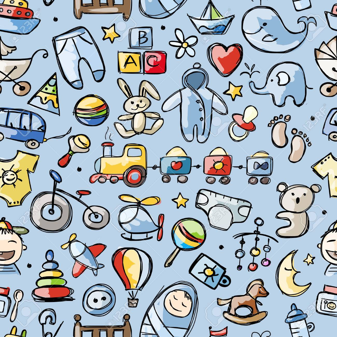 Toys for baby boy, seamless pattern for your design Stock Vector - 36354288