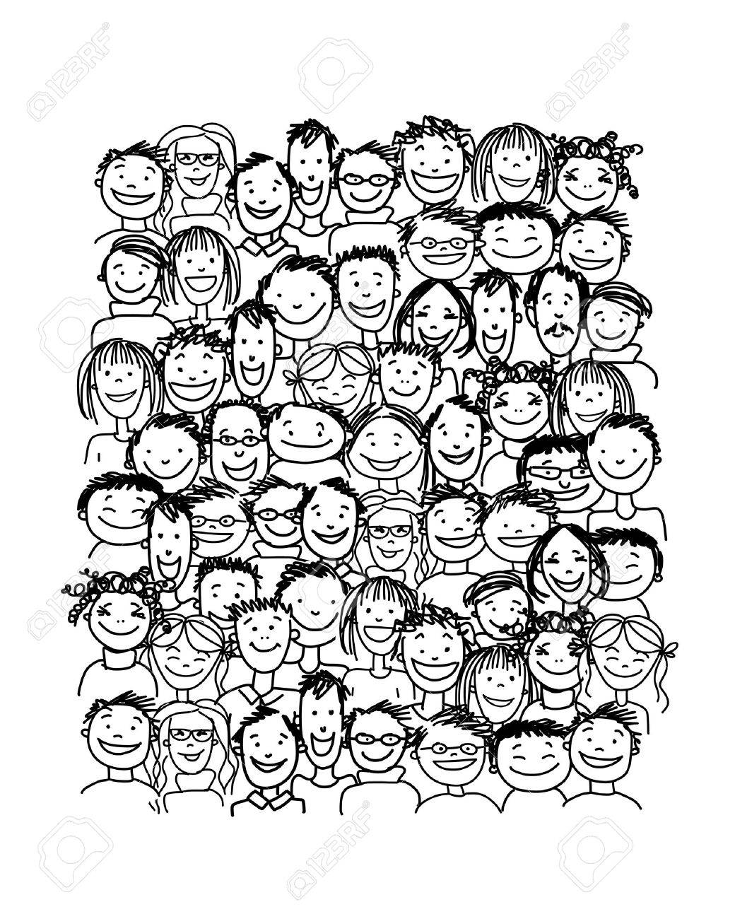 Group of people, sketch for your design Stock Vector - 37038332